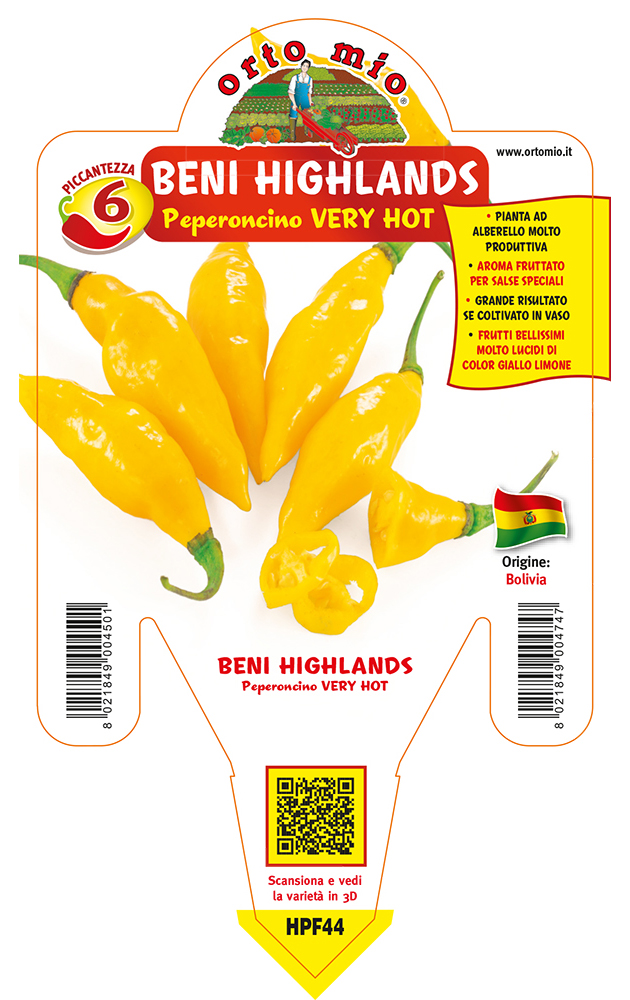Peperoncino piccante VERY HOT Beni Highlands giallo